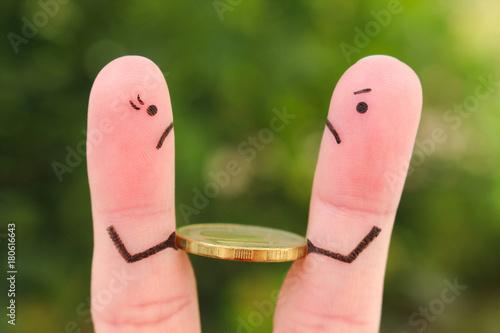 Photo Fingers art of family during quarrel