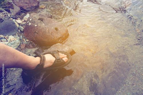 Photo  Hikers foot