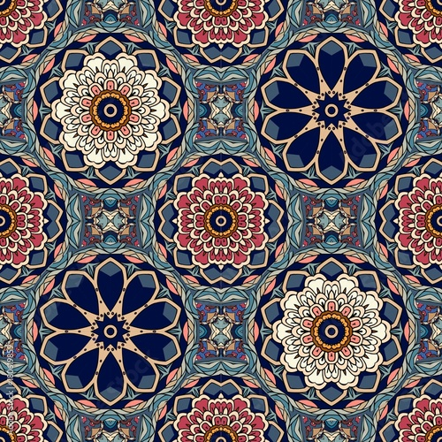 Fototapeta  Seamless geometric pattern with stylized lotus and flowers mandalas