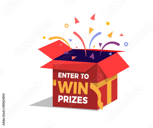 Foto Prize box opening and exploding with fireworks and confetti