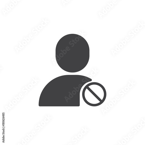 Photo User block icon vector, filled flat sign, solid pictogram isolated on white