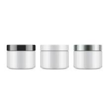 Set Of Round White Plastic Jar...