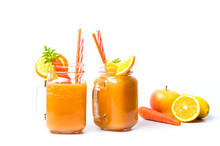 Carrot Smoothie In A Jar Isola...
