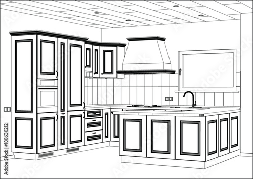 3D vector sketch. Classic kitchen design in home interior ...