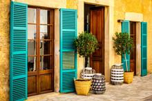 Street Santanyi. Colorful Facade Of Mallorca.
