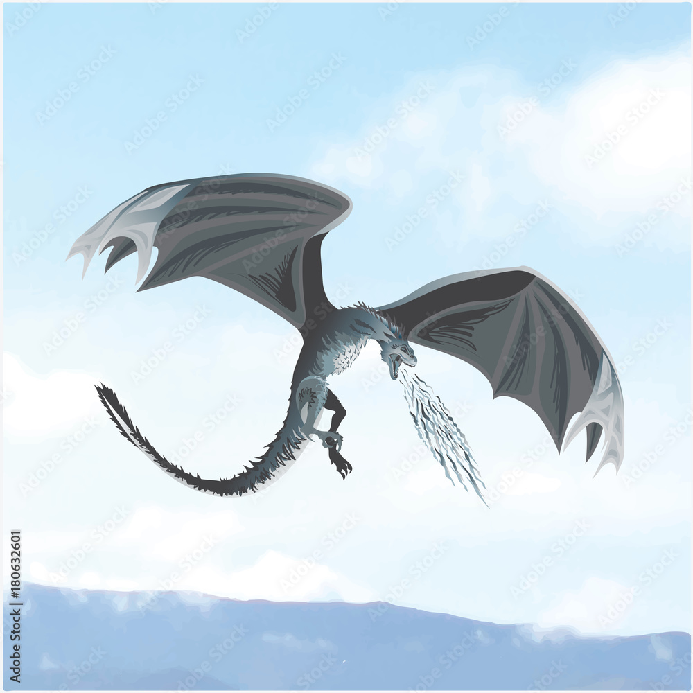 Attacking dragon against the sky. Mythical animal. Design for printing on paper or textiles.