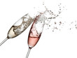 canvas print picture - White and rose champagne up with drops