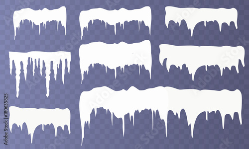 Fotografía Set of snow icicles isolated on transparent background
