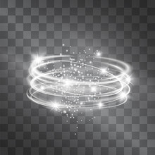Vector Silver Light Discs Hazy Effect. Cold Glowing Swirling Storm Cylinder Of Shining Stardust Sparkles On Transparent Background. Glittering Blizzard Funnel, Ice Cold Magical Illumination.