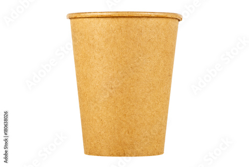 Coffee cup in brown craft isolated on a white background