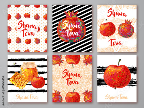 Set of greeting cards with symbol of rosh hashanah pomegranate set of greeting cards with symbol of rosh hashanah pomegranate apple honey m4hsunfo