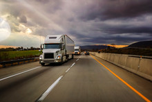 18 Wheeler Truck On Highway