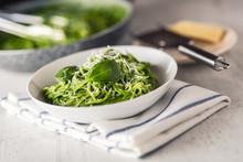 Spaghetti. Green Spaghetti With Spinach And Parmesan. Italian And Mediterranean Cuisine