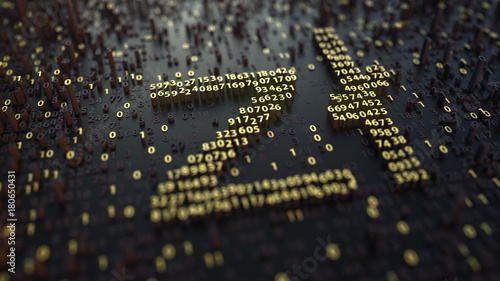 Cuadros en Lienzo Polish zloty PLN sign made of golden numbers. 3D rendering