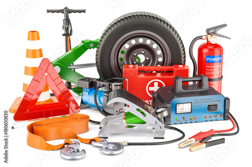 Car tools, equipment and accessories. 3D rendering