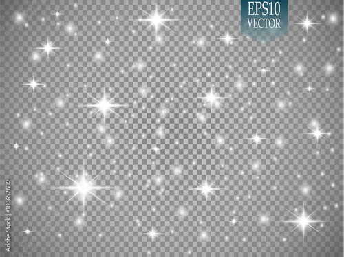Obraz Vector white glitter wave abstract illustration. White star dust trail sparkling particles isolated on transparent background. Magic concept - fototapety do salonu