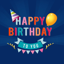 Happy Birthday Typography Illustration Design For Greeting Cards And Poster With Balloon