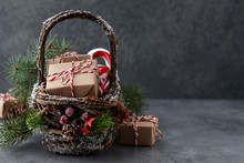 Christmas Wicker Basket With G...