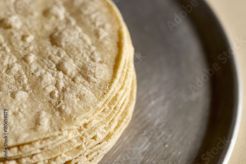 Fotografie, Obraz  A stack of fresh corn tortillas