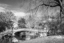 Scenic Black And White Rendering Of Bow Bridge In Central Park New York City