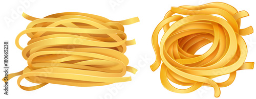 Pasta noodles on white background Wallpaper Mural