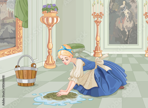 Foto op Canvas Sprookjeswereld Sad Cinderella Cleaning