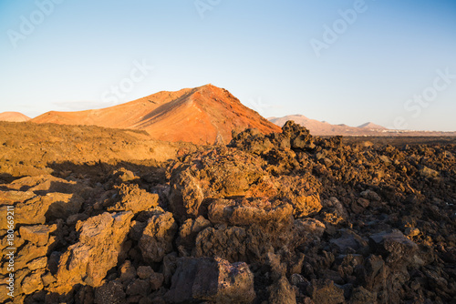 Volcanic landscape in Los Hervideros. Lanzarote. Canary Islands. Spain