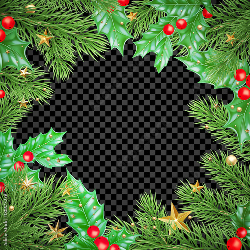 christmas new year greeting card background template tree branch holly wreath stars frame