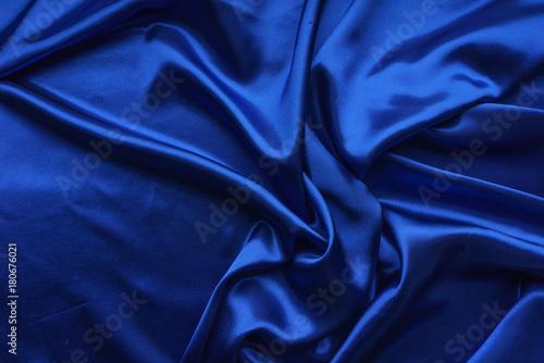 Foto  Blue satin, silky fabric, wave, draperies