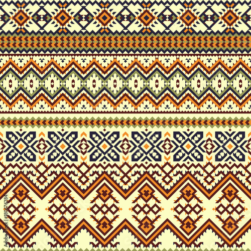 Photo sur Aluminium Style Boho Ethnic colorful seamless pattern.