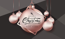 Merry Christmas Greeting Card Background With Rose Gold Christmas Ball Ornament .Vector Illustration Template.