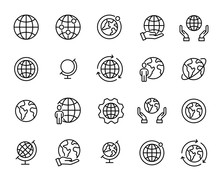 Simple Set Of Globe Related Ou...