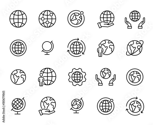 Photo  Simple set of globe related outline icons