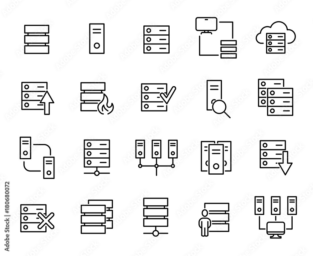 Fototapeta Modern outline style server icons collection