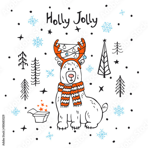 Foto op Plexiglas Kerstmis holly jolly merry christmas xmas new year greeting card with cute cartoon surprised polar bear in the forest with gift box and stars