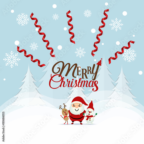 Fototapety, obrazy: Christmas Greeting Card with Christmas Santa Claus ,Snowman and reindeer. Vector illustration