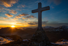 Cross A Mountain In The Magical Sunset Colors