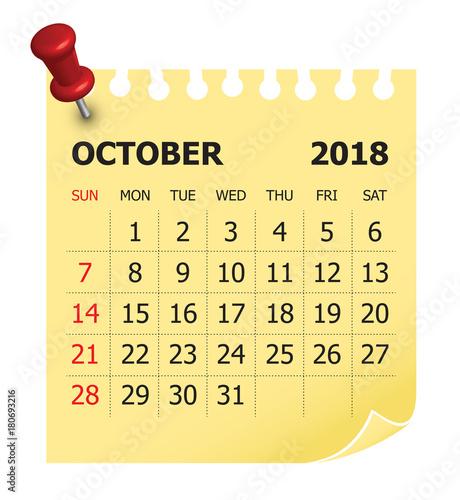 october 2018 calendar vector illustration