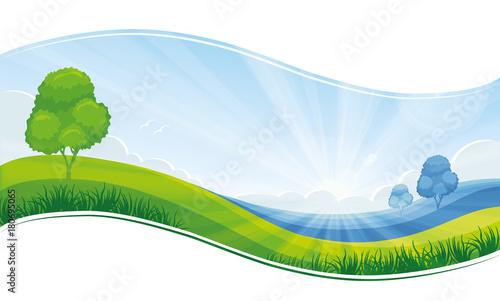 Fotobehang Wit Fresh morning summer or spring landscape, green meadow, blue sky - vector background