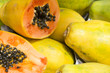 canvas print picture - Fresh cut juicy tropical papaya mamao fruit with seeds at Brazilian farmers market in Rio de Janeiro Brazil
