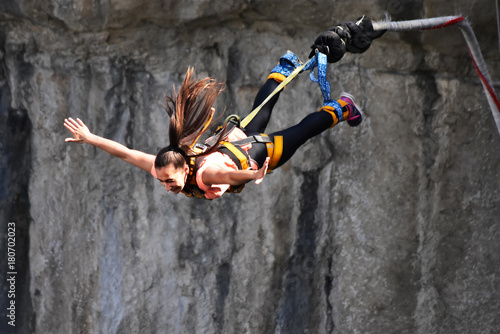 Fotografie, Obraz  Bungee jumps, extreme and fun sport.