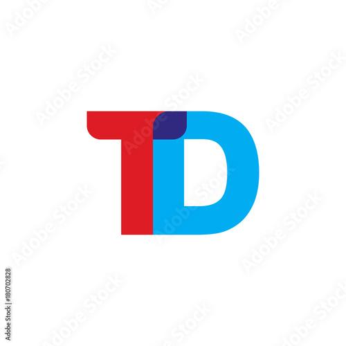 Initial Letter Td Overlapping Transparent Uppercase Logo Modern