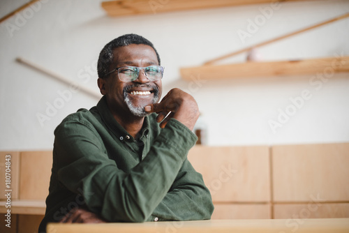 Fotografie, Obraz  happy mature man in cafe