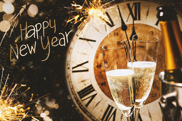 Happy New Year greeting card with champagne