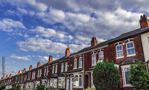 Row of victorian terraced houses in the UK Poster Mural XXL