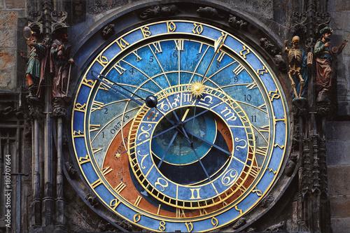 Historical famous astronomical clock in Prague Canvas Print