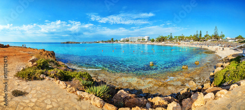 View of turquoise water Nissi beach in Aiya Napa, Cyprus. Ayia Napa coastline.