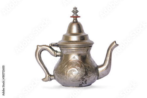 Cuadros en Lienzo arabic antique old silver teapot isolated on white background