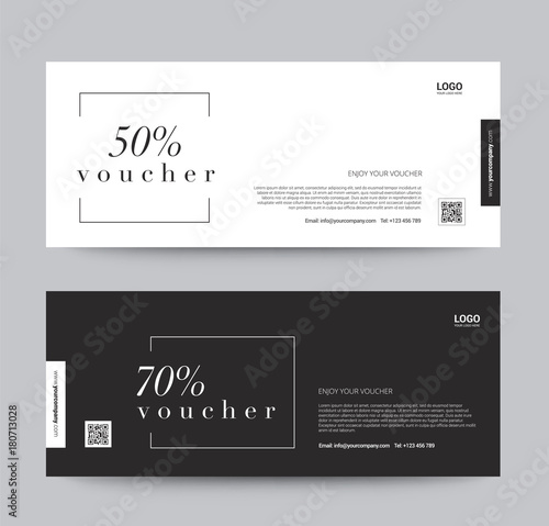 Gift Voucher Template Promotion Sale discount, black and white ...