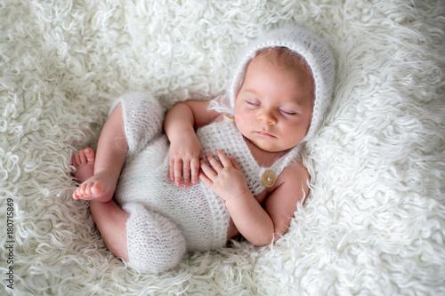 Beautiful newborn baby boy, sleeping